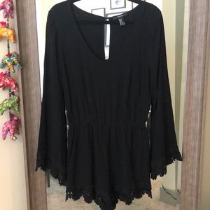 Boho Black Romper with Lace Detail